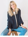 Mer Sea Zipper Cardi Travel Sweater With Bag Navy-Tan Trim