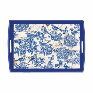 Michel Design Works Indigo Cotton Large Decoupage Wooden Tray