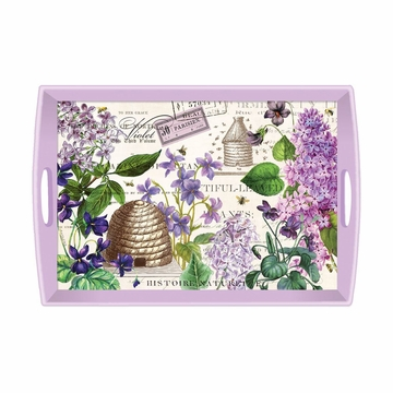 Michel Design Works Lilac and Violets Large Decoupage Wooden Tray