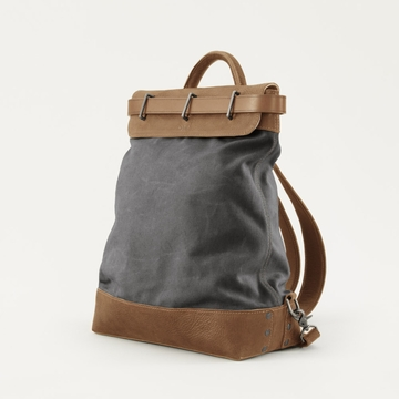 Mission Mercantile Steamer Backpack Charcoal - Oak Leather