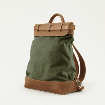 Mission Mercantile Steamer Backpack Forest - Oak Leather
