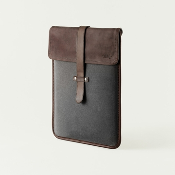 Mission Mercantile Vertical Laptop Sleeve Charcoal - Oil Leather