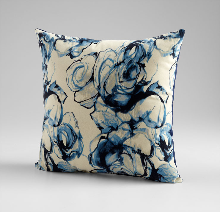 Blue White Throw Pillow : Monet Blue and White Throw Pillow by Cyan Design