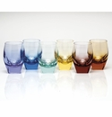 Moser Bar DOF Glasses Set of 6 Rainbow Aquamarine