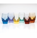 Moser Bar Hiball Glasses Set of 6 Rainbow Aquamarine