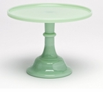 """Mosser Glass 10"""" Footed Cake Plate - Jade"""