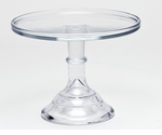 """Mosser Glass 9"""" Footed Cake Plate - Crystal"""