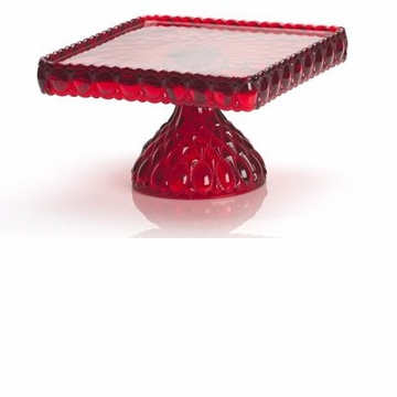 Mosser Glass Elizabeth Square Footed Cake Plate - Red