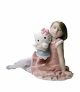 "Nao by Lladro Porcelain ""Playing with Hello Kitty"" Figurine"