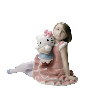a919b0e00 Nao by Lladro Porcelain ''Playing with Hello Kitty'' Figurine