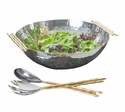 Dessau Home Nickel And Gold Bamboo Bowl Home Decor