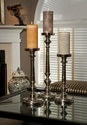 Dessau Home Nickel Finish Pillar Candleholder Large Home Decor