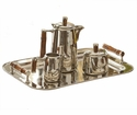 Dessau Home Nickel Tea Set With Bamboo Handle (Tray Sold Seperately- Item #St245) Home Decor