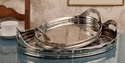 "Dessau Home Nickel Tray Oval Etched 21""L Home Decor"