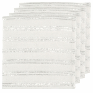 Now Designs Silver Silver Stripe Napkins Set of 4