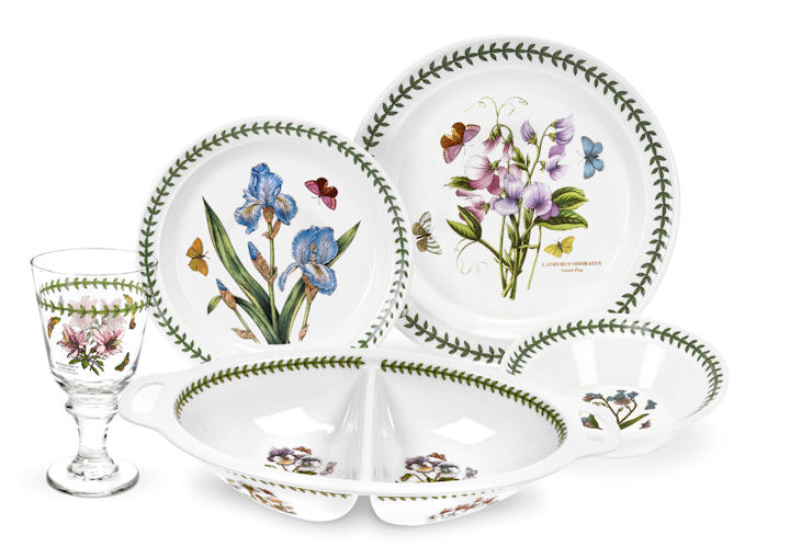 Portmeirion botanic garden 17 piece dinnerware set for Portmeirion dinnerware set of 4 botanic garden canape plates