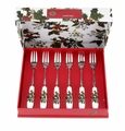Portmeirion Holly & Ivy Holiday Pastry Forks Set of 6