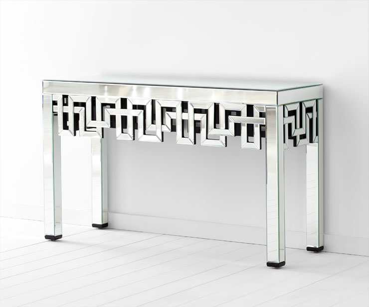 mirrored console table. mirrored console table