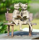 Reading Cats on Bench Garden Statue by SPI Home