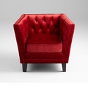 Red Tufted Square Back Chair by Cyan Design
