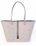 Remi & Reid Departure Tote in Linen Texture - Light Grey/Silver