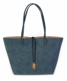Remi & Reid Departure Tote with Crossbody in Linen Texture - Teal / Nude