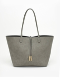 Remi & Reid Departure Tote with Crossbody Linen Texture Gray / Black