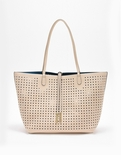 Remi & Reid Departure Tote with Crossbody Perforated Cream / Teal