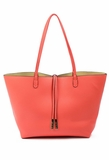 Remi & Reid Departure Tote with Crossbody - Coral/Beige