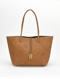 Remi & Reid Departure Tote with Crossbody Linen Texture Camel / Olive