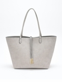 Remi & Reid Departure Tote with Crossbody Linen Texture Gray / Silver