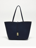 Remi & Reid Departure Tote with Crossbody Linen Texture Navy / Taupe