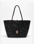 Remi & Reid Departure Tote with Crossbody Perforated Black / Taupe
