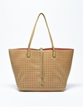 Remi & Reid Departure Tote with Crossbody Perforated Camel / Coral