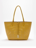 Remi & Reid Departure Tote with Crossbody Perforated Yellow / Cream