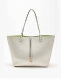 Remi & Reid Departure Tote with Crossbody Silver / Neon Yellow
