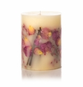 "Rosy Rings Apricot & Rose 9.5"" Tall Big Round Botanical Candle"