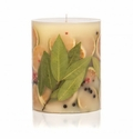 "Rosy Rings Bay Garland 6.5"" Tall Round Botanical Candle"