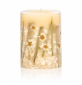 """Rosy Rings Beach Daisy 9"""" Tall Big Round Botanical Candle"""