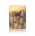 "Rosy Rings Forest 9.5"" Tall Big Round Botanical Candle"