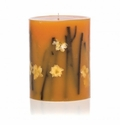 "Rosy Rings Honey Tobacco 9"" Tall Big Round Botanical Candle"
