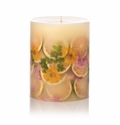 "Rosy Rings Lemon Blossom & Lychee 9.5"" Tall Round Botanical Candle"