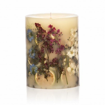 Rosy Rings Roman Lavender 5'' Tall Round Botanical Candle