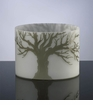 Round Oak Etched Glass Vase by Cyan Design