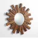 Round Pecan Wood Mirror by Cyan Design