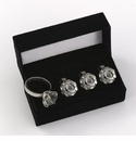 Set of Four Silver Plated Diamond Ring Napkin Rings