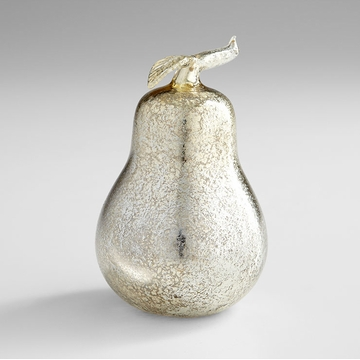 Silver Glass Pear Sculpture Glass by Cyan Design