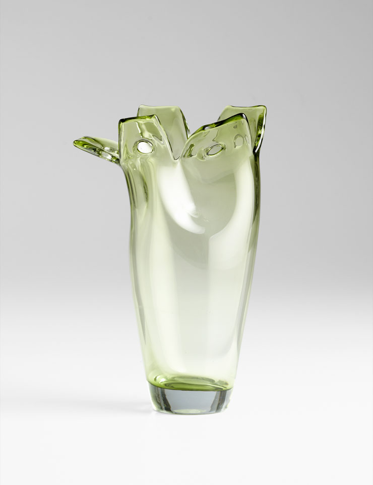 small chevel green glass vase by cyan design. Black Bedroom Furniture Sets. Home Design Ideas