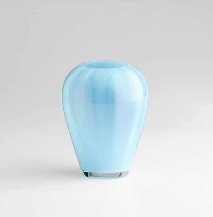 Small Enzo Sky Blue Glass Vase By Cyan Design