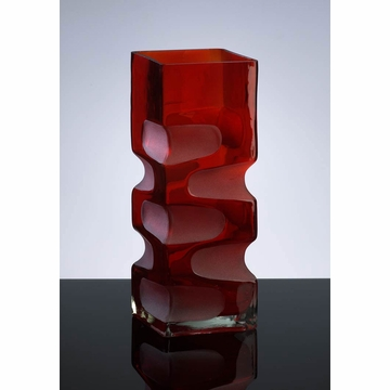 Small Etched Red Glass Vase by Cyan Design